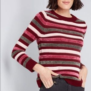 Modcloth | Striped Chenille & Knit Sweater S NWT